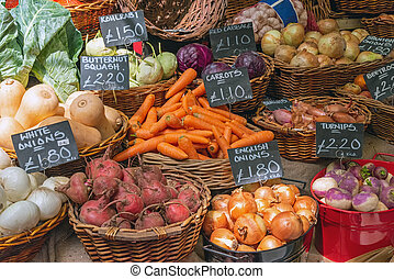 Onions, carrots and other vegetables for sale