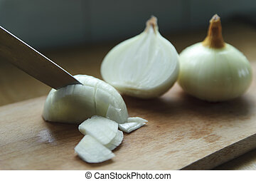 Onions chopping on the board