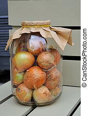 Onions in a glass jar