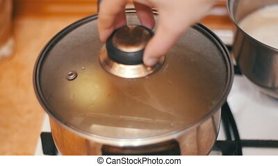 Onions in a Pot of Boiling Water is Prepared at Home Stove. Slow Motion