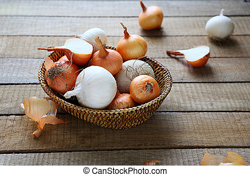 onions in a wicker basket