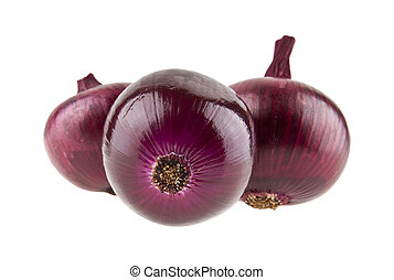 onions isolated on white background closeup