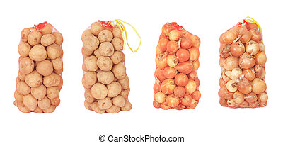 Onions isolated on white in a fishnet.