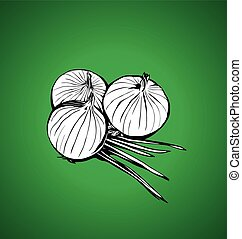 onions on a green background