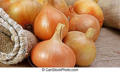 onions on a wooden board
