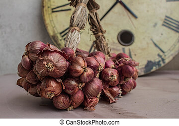 Onions on background.