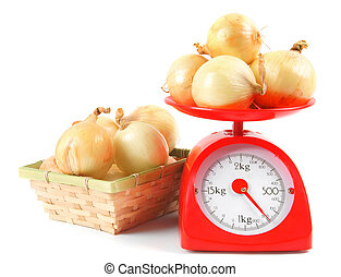 Onions on scales and in a basket