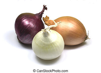 Onions – red and brown and white