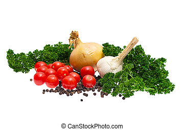 onions., tomates, ail, fond, poivres, blanc, persil