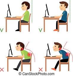 onjuist, positie, correct, back, zittende