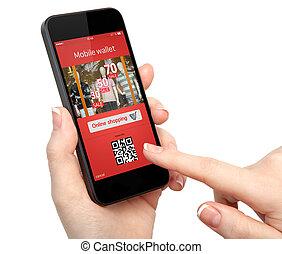 onlain, compras de mujer, pantalla, mano, teléfono, tenencia