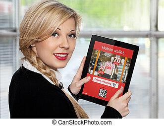onlain, compras, tableta, mujer de negocios, pantalla, tenencia