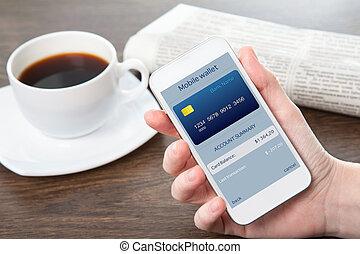 onlain, inköp, ämbete telefonera, mobil, affärskvinna, avskärma, hand, plånbok, holdingen