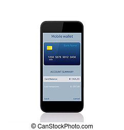onlain, inköp, plånbok, mobil, avskärma, ringa
