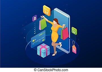 onlan, isométrique, achats, crédit, concept., téléphone, intelligent, ligne, store., girl, marques, carte, heureux
