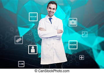 online γιατρικό , γενική ιδέα , με , γιατρός