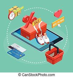 online , διαδικασία , αφίσα , ψώνια , isometric , ecommerce