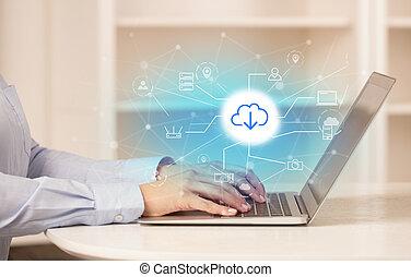 online , εργαζόμενος , αποθήκευση , τεχνολογία , αυτήν , σύνεφο , γυναίκα , laptop , αρμοδιότητα αντίληψη