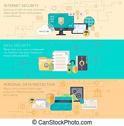 online, 3, bescherming, banieren, data, plat