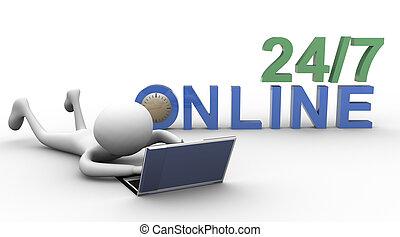 online, 3d, homem
