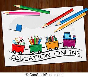 online, 3d, illustratie, leren, internet, opleiding, optredens