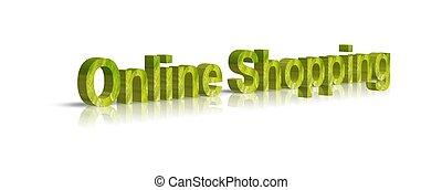 online, 3d, słowo, zakupy