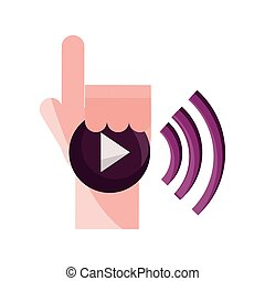 online activities, hand connection internet player button flat style icon