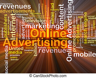 Online advertising background concept glowing