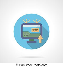 Online advertising round flat color vector icon
