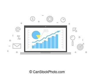 online, analytics, begriff, linie, illustration., laptop, mit, webseite, grafik, diagramm, schirm, und, linear, ikone, vektor