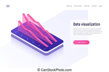 Online analytics, data analysis and visualization isometric concept