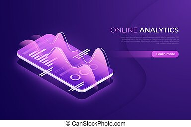 Online analytics, data analysis, financial performance isometric concept