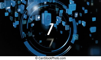 Online and application icons in squares and a count down
