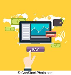 Online and mobile payments concept. Human hand finger...