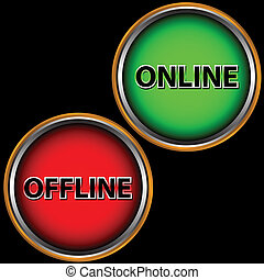 Green button online and red button offline