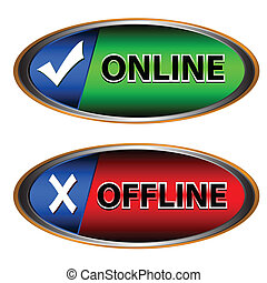 Online and offline icon - Green button online and red button...