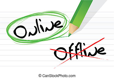 online and offline selection options illustration design ...