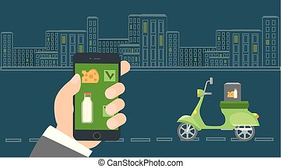 online.., app., smartphone, 手の 保有物, 出産, 順序, モビール, 食物