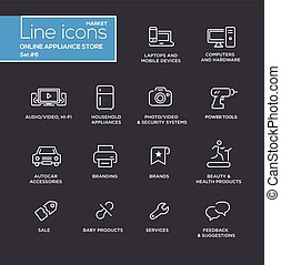 Online appliance store line design pictograms set