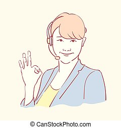 Online assistant support operator hand drawn style vector doodle design illustrations