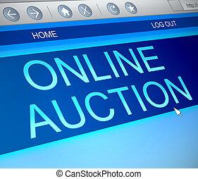 Online auction concept. - Illustration depicting a computer...