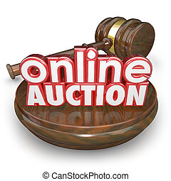 Online Auction Gavel Internet Bidding Web Site Win Buy Item...