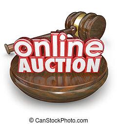 Online Auction Gavel Internet Bidding Web Site Win Buy Item...