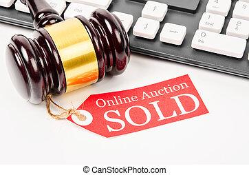 Online auction sold concept.