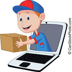 online, auslieferung, karikatur