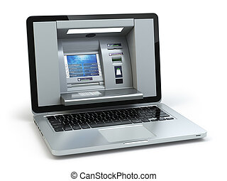Online banking and payment concept. Laptop as ATM machine isolated on white background.