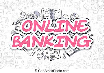 Online Banking - Cartoon Magenta Word. Business Concept.
