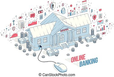 Online Banking concept, bank building with computer mouse connected isolated on white background. Vector 3d isometric business illustration with icons, stats charts and design elements.