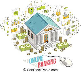 Online Banking concept, bank building with computer mouse connected isolated on white background. Isometric 3d vector finance illustration with icons, stats charts and design elements.