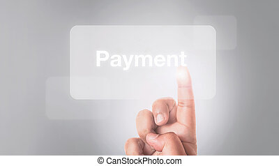 hand pressing payment button